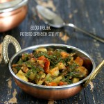 Potato Spinach or Rainbow Chard stir fry. Aloo Palak. Vegan Glutenfree Recipe