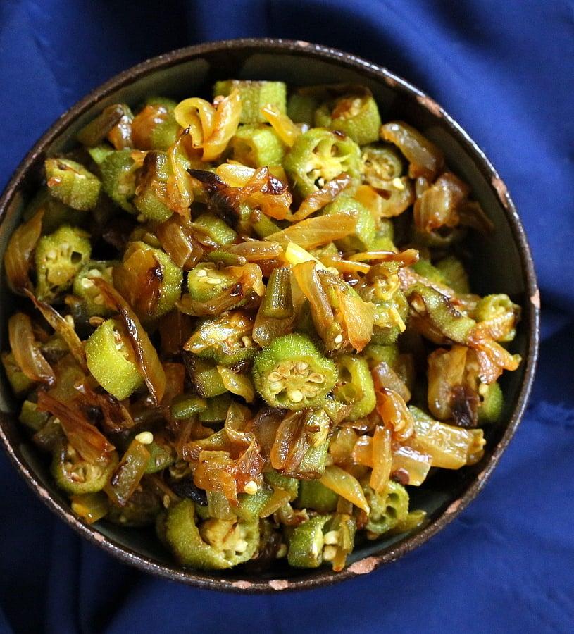 Indian Okra and Onion stir fry. Mom's Pyaaz Waali Bhindi Subzi   Vegan Richa