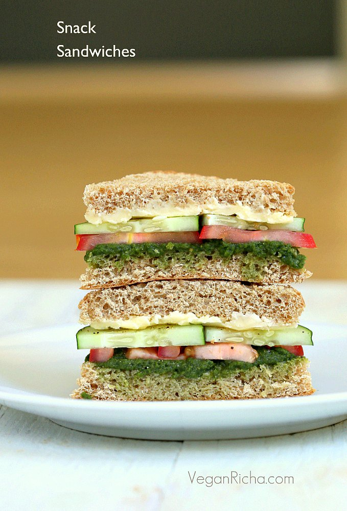 Cucumber, Tomato, Mint Cilantro Chutney Snack Sandwiches