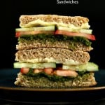 Cucumber, Tomato, Mint Cilantro Chutney Snack Sandwiches. Vegan Recipe