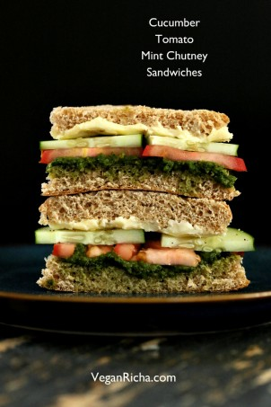 How to make Cucumber Chutney Sandwiches. Cucumber, Tomato, Mint Cilantro Chutney Snack Sandwich with easy chutney. Soy-free Nut-free Vegan Indian Recipe. #glutenfree #veganricha #vegan