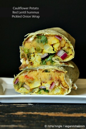 Gobi Aloo Wrap – Cauliflower Potato, Toasted Red Lentil hummus, Pickled Onion Wrap. Vegan Recipe