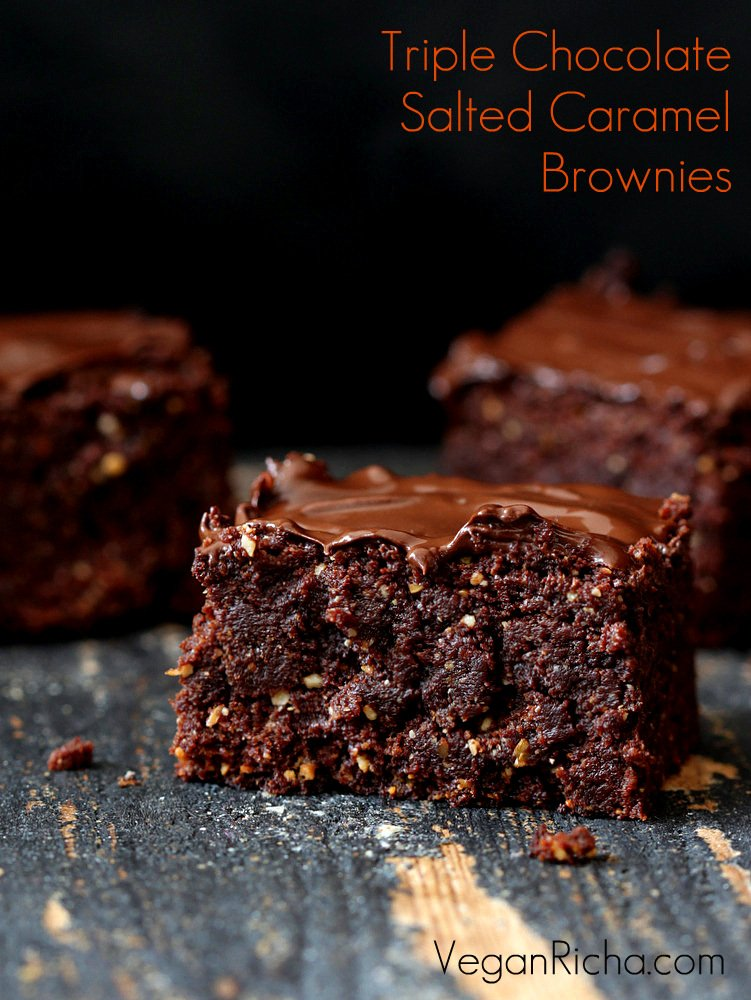 Triple Chocolate Salted Caramel Brownies - blog graphic with text overlay