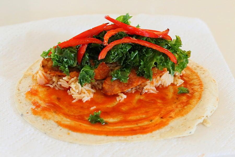 Spanish Rice, Buffalo Tempeh, Kale, Bell Pepper Wraps. Vegan Mofo ...