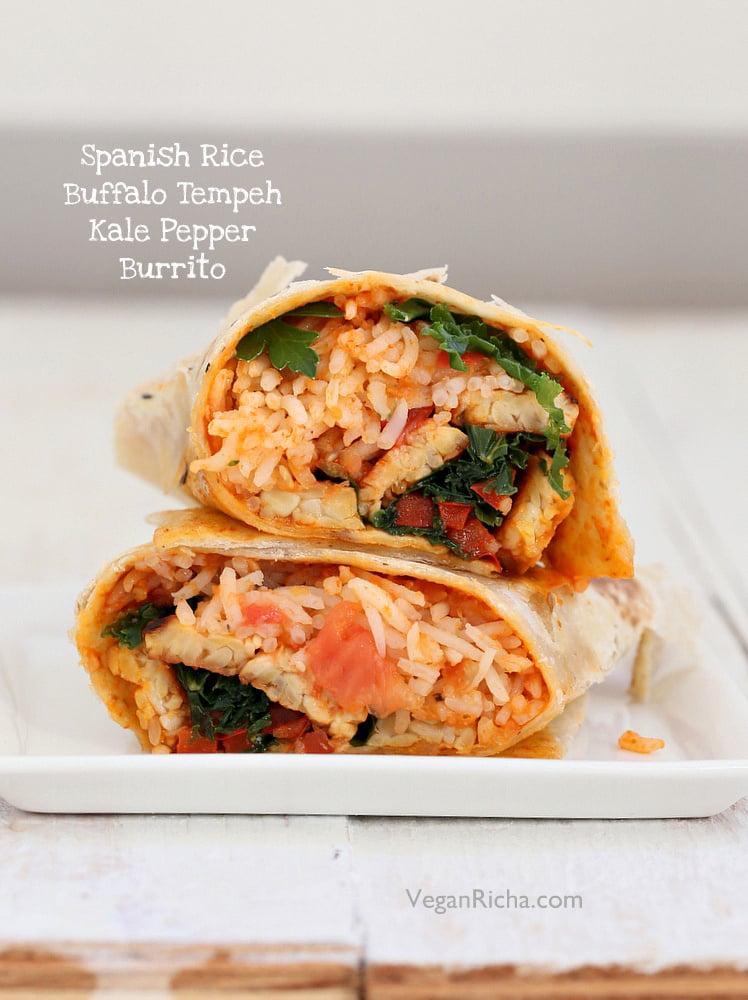Vegan Buffalo Tempeh, Spanish Rice, Kale, Red Bell Pepper Wraps