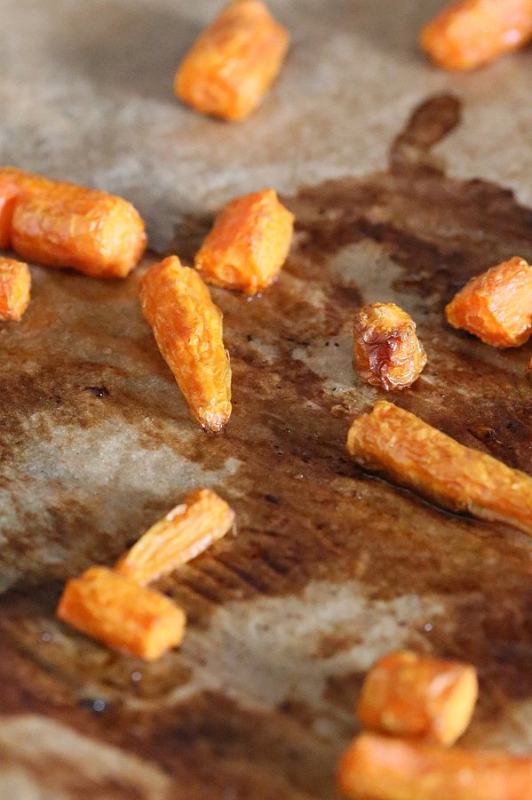 carrots roasting on a sheet pan to make vegan ice cream recipe