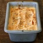 vegan carrot cake ice cream in a metal loaf pan