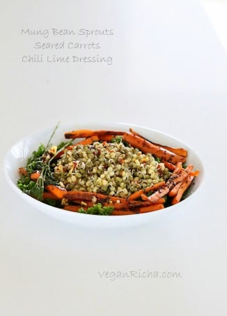 Mung Bean Sprouts, Seared Carrots, Kale Salad with Chili Lime Sesame Dressing. Vegan Glutenfree Recipe