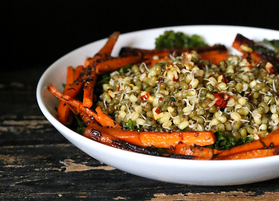 Mung Bean Sprouts Salad with Seared Carrots, kale and Chile Lime Sesame Dressing | Vegan Richa