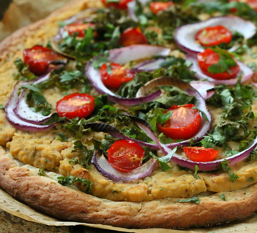 Vegan Roasted Hatch Chile White Bean Cheesy Hummus, Kale, Cherry Tomato Pizza on Quinoa crust