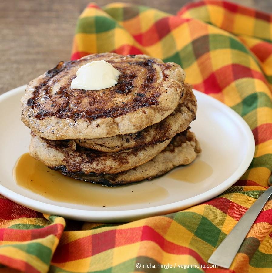 Vegan Cinnamon Roll Pancakes | Vegan Richa