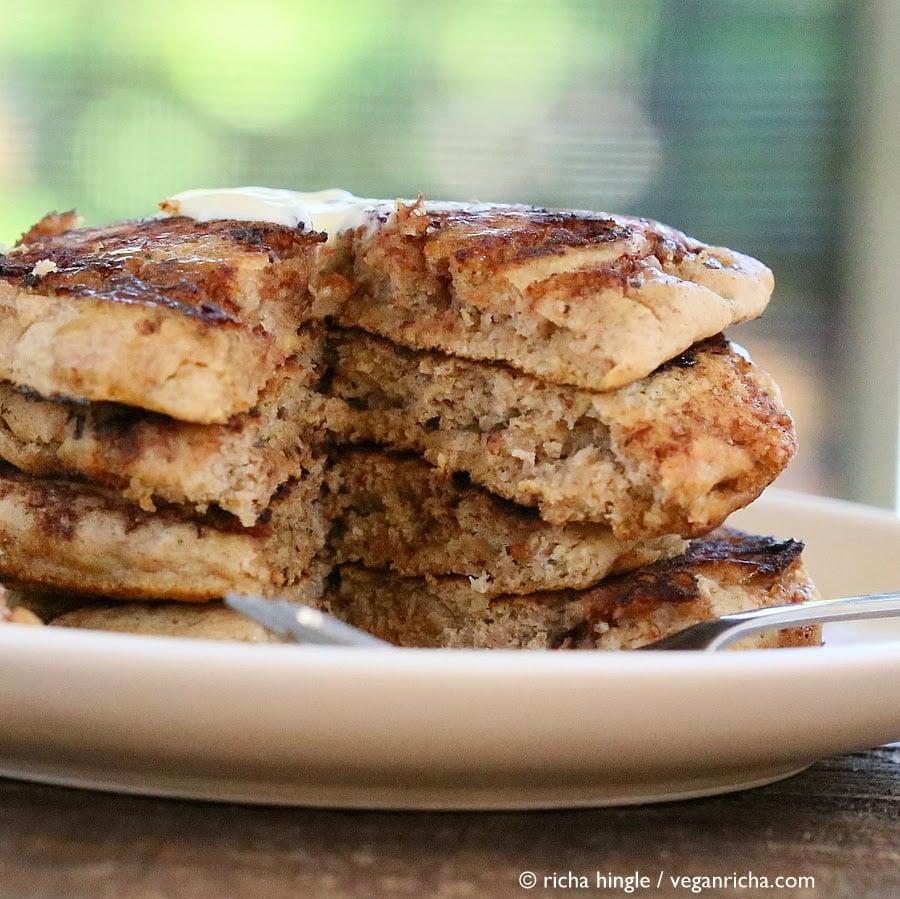These Vegan Cinnamon Roll Pancakes use my multi-grain pancake mix. Delicious breakfast with With swirls of cinnamon sugar. soy-free, vegan recipe