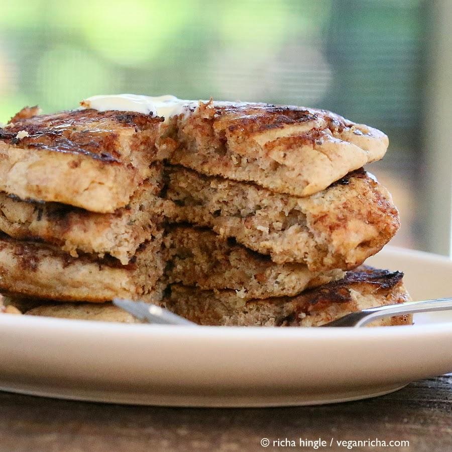 Vegan Cinnamon Roll Pancakes and Multi-grain Pancake Mix. Vegan Recipe ...