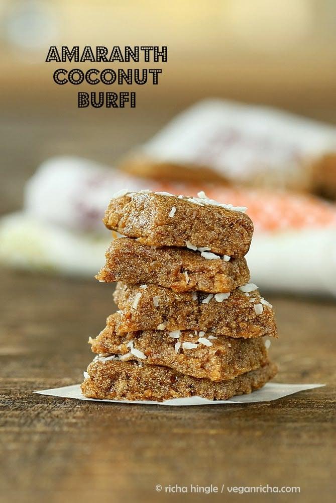 Vegan Rajgira Burfi - Amaranth Coconut Fudge
