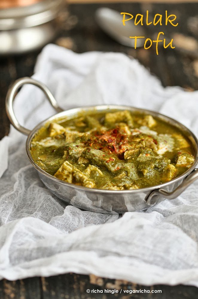 Vegan Palak Tofu Paneer - Tofu in Spinach curry
