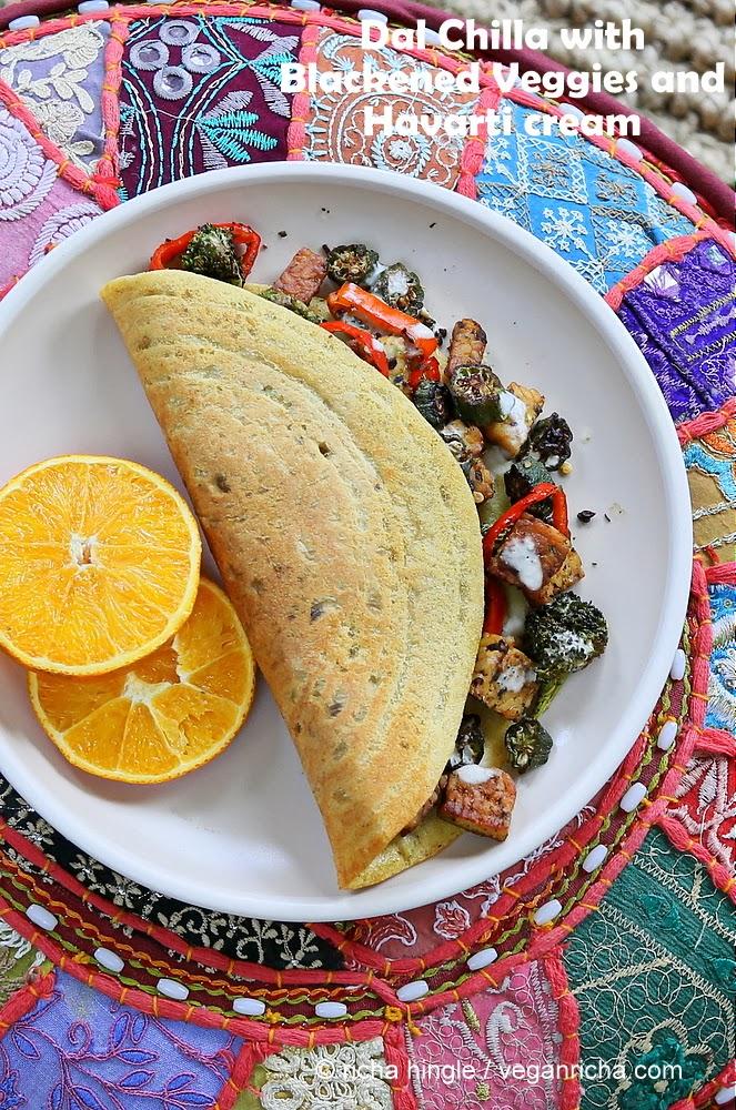 Lentil Mung Bean Omelette - Dal Chilla with Blackened Okra Tempeh Broccoli & Havarti. Vegan Gluten-free Recipe