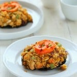 Portabella Mushrooms stuffed with Herbed Chickpeas. Vegan Recipe