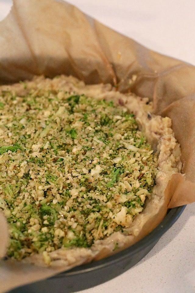 Cauliflower Broccoli Masala Pie with Black eyed Pea Potato Crust   VeganRicha.com #vegan #glutenfree #grainfree