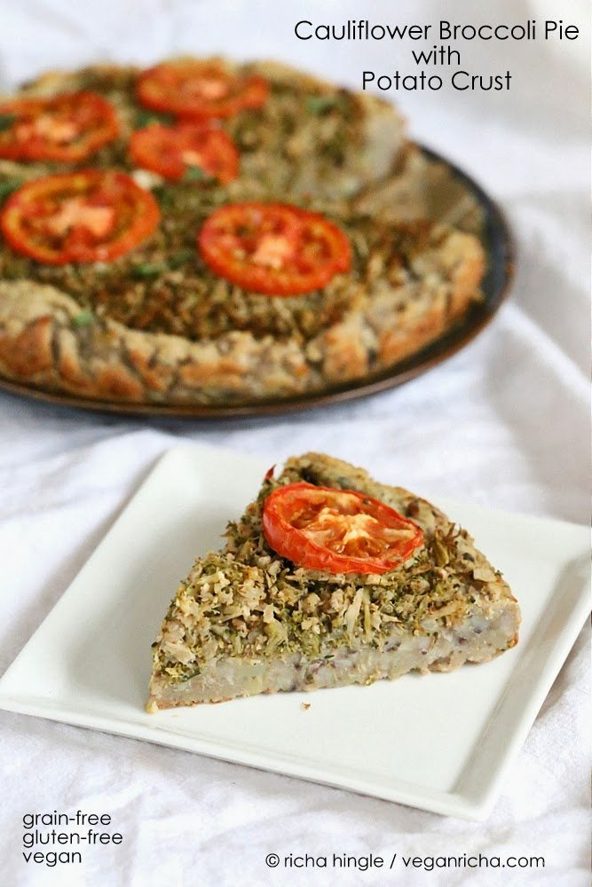 This Cauliflower Broccoli Pie is full of flavor from the garam masala and has a delicious Potato black eyed pea crust. | VeganRicha.com #vegan #glutenfree and #grainfree