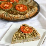 This Savory Cauliflower Broccoli Pie is full of flavor from the garam masala and has a delicious potato black eyed pea crust. gluten free and grain free. #glutenfree #veganricha #vegan