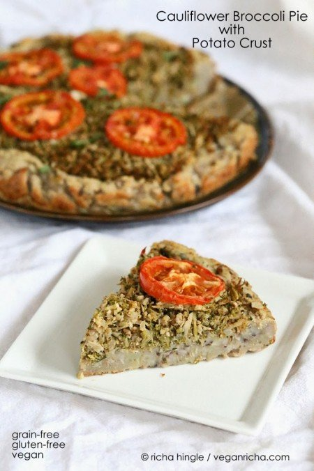 This Savory Cauliflower Broccoli Pie is full of flavor from the garam masala and has a delicious potato black eyed pea crust. gluten free and grain free. #glutenfree #veganricha #vegan