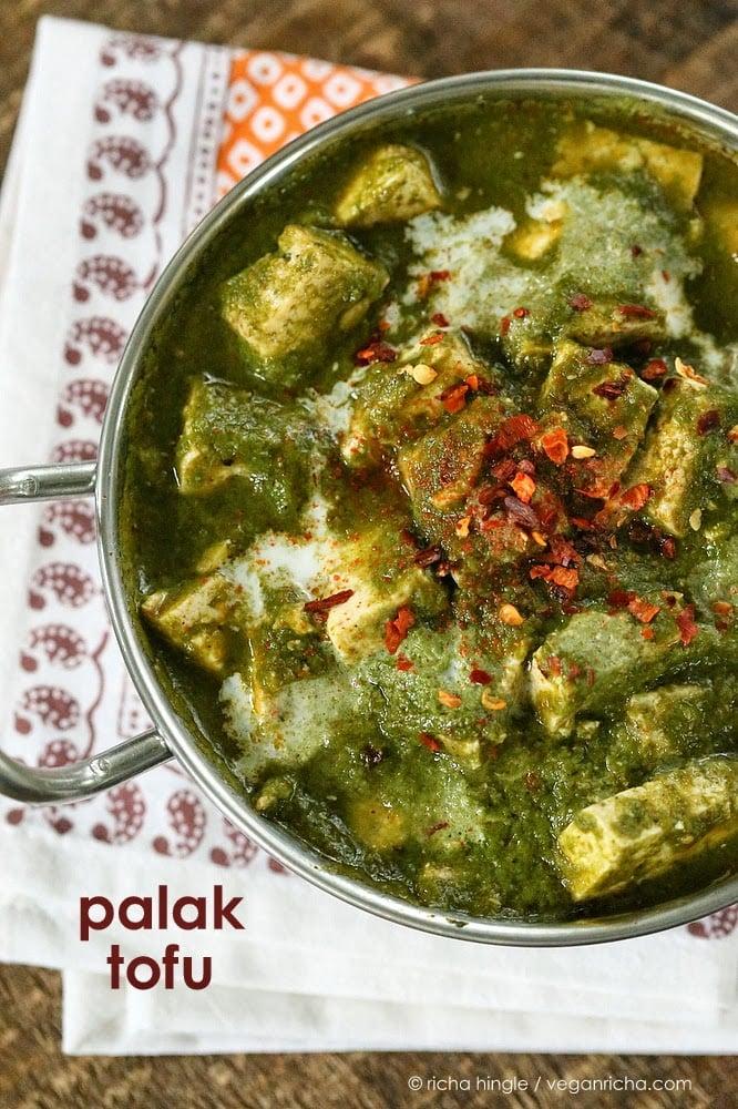 Vegan Palak Tofu in a steel kadai