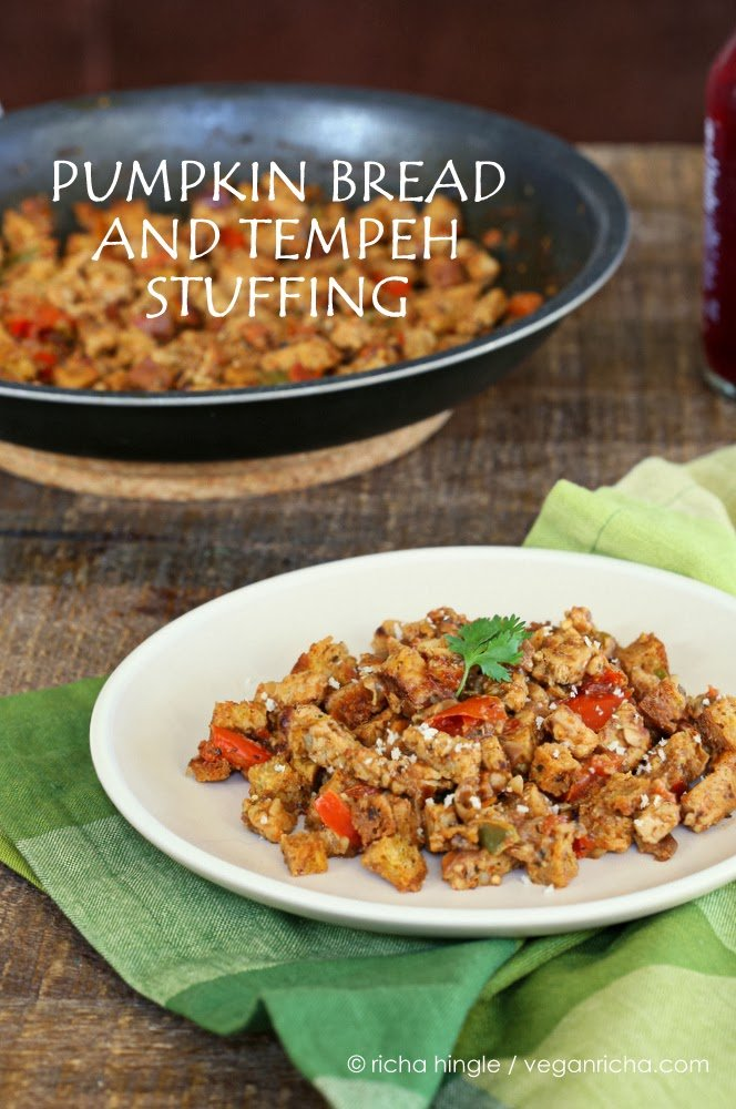 Vegan Tempeh and Pumpkin Bread Stuffing