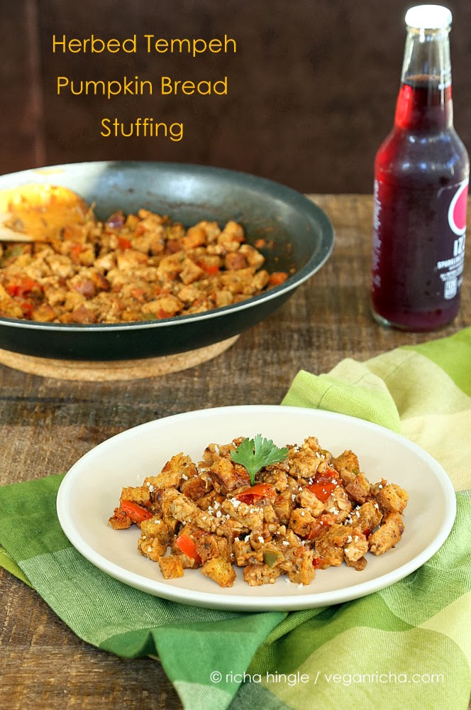 This Tempeh and pumpkin bread stuffing is perfect for the holidays. Moist Pumpkin bread loaf plus crumbled tempeh and spices   VeganRicha.com