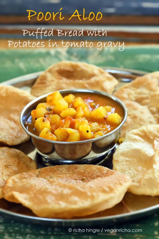 Vegan Poori Aloo - Puffed Bread with Potatoes in Tomato gravy