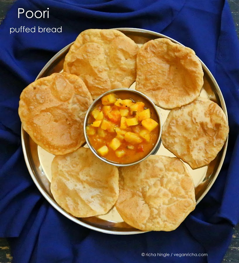 Poori Aloo - Puffed Bread with Potatoes in Tomato gravy. Vegan Recipe ...