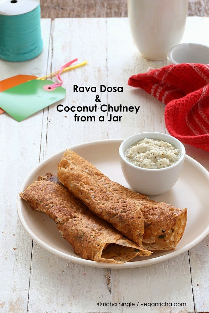 Rava Dosa Recipe and Coconut Chutney Mix in a Jar