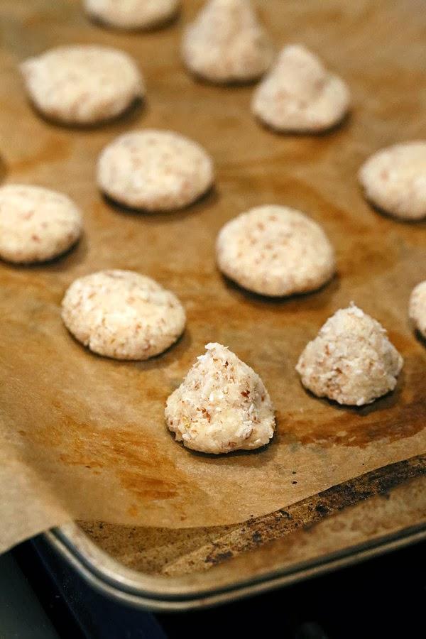 vegan coconut macaroons on a baking sheet