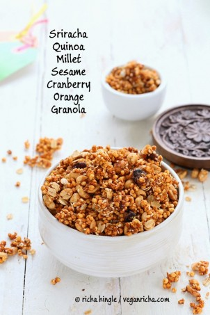 This Spicy granola with Sriracha Millet Quinoa is a very addictive savory, sweet and spicy granola with puffed millet, quinoa, peanuts, cranberries and orange zest! Savory granola. Vegan Gluten-free Recipe. #glutenfree #veganricha #vegan