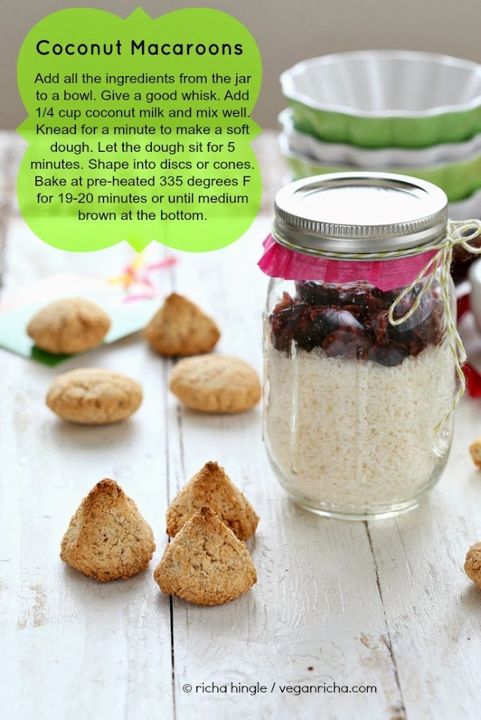 picture of a jar of gluten-free coconut macaroons cookie mix ready for gifting with text overlay giving instructions for baking cookies with the mix