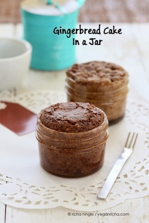 Vegan gingerbread Cake in a jar for 1 on white table