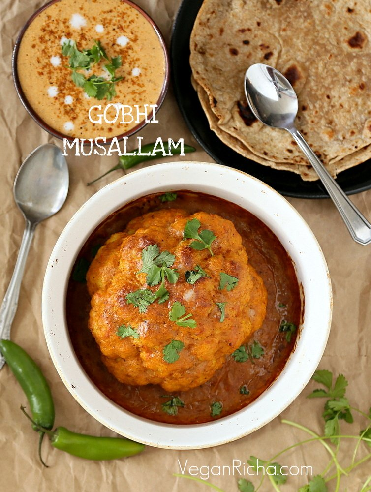 Gobi Musallam - Whole Roasted Cauliflower with Creamy Makhani Gravy | Vegan Richa