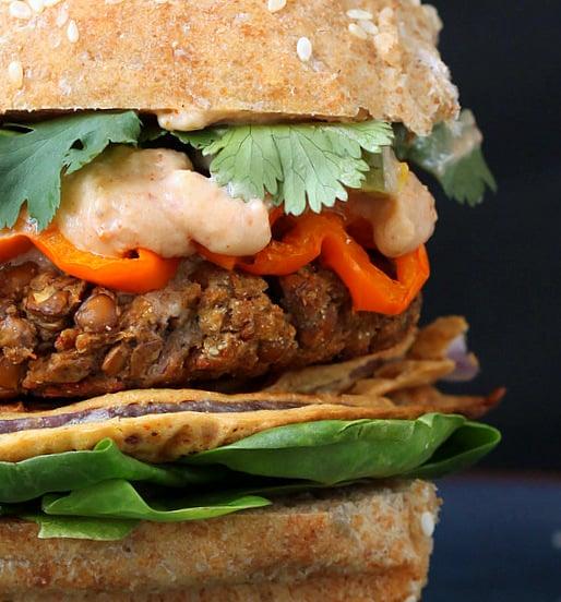loaded red lentil cauliflower burger