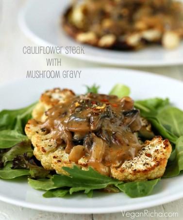 Cauliflower Steaks with Mushroom Gravy. Vegan Glutenfree Recipe