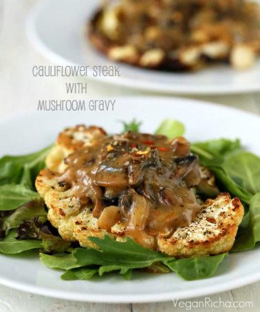 Cauliflower Steaks with Mushroom Gravy. Easy Roasted Cauliflower Slices served with mushroom thyme gravy. Vegan gluten-free Festive Main for the holidays.