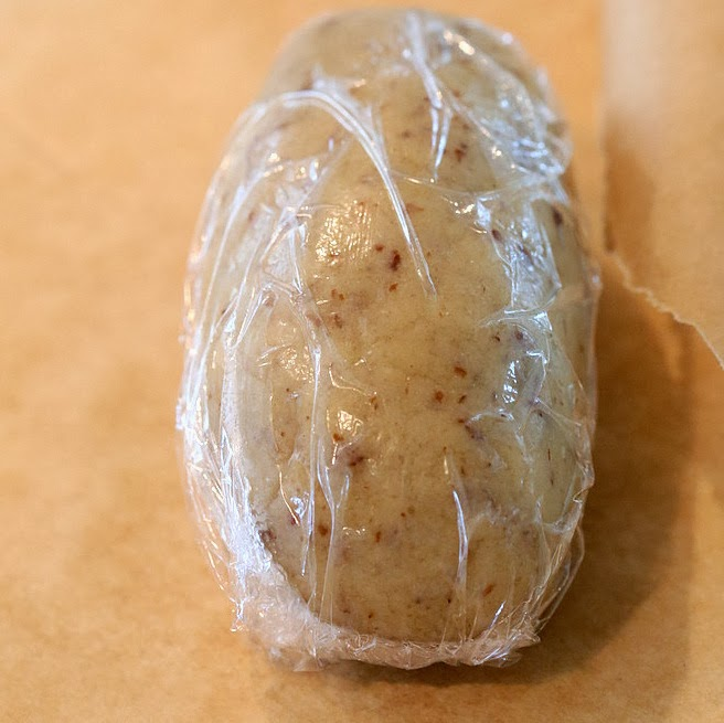 chilled vegan sugar cookie dough wrapped in cling film