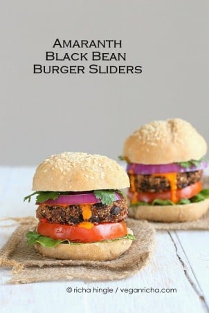 Smoky Amaranth Black Bean Burgers with Roasted Red Pepper sauce. Vegan Recipe