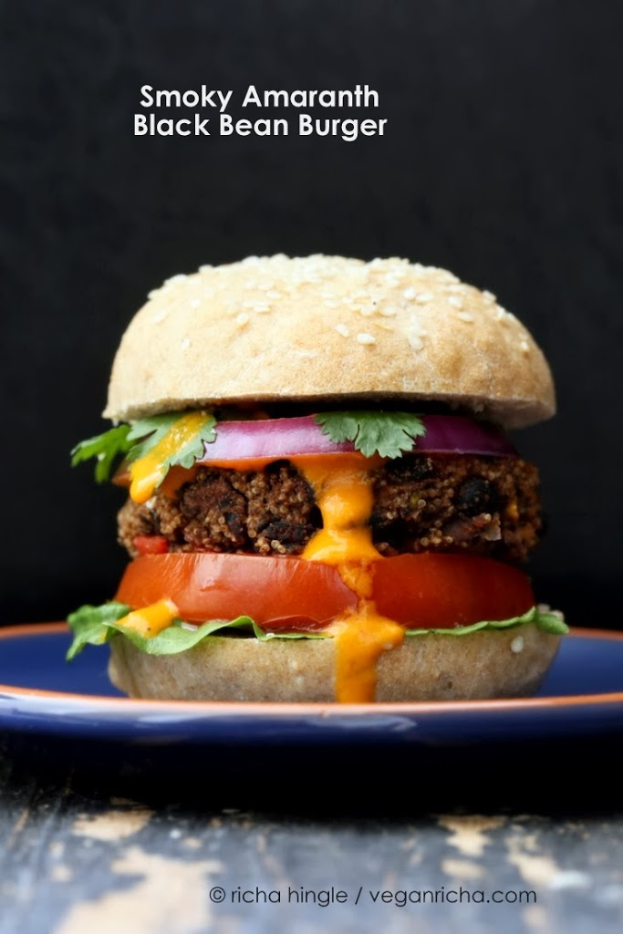 Smoky Amaranth Black Bean Burgers with Roasted Red Pepper sauce. Vegan ...