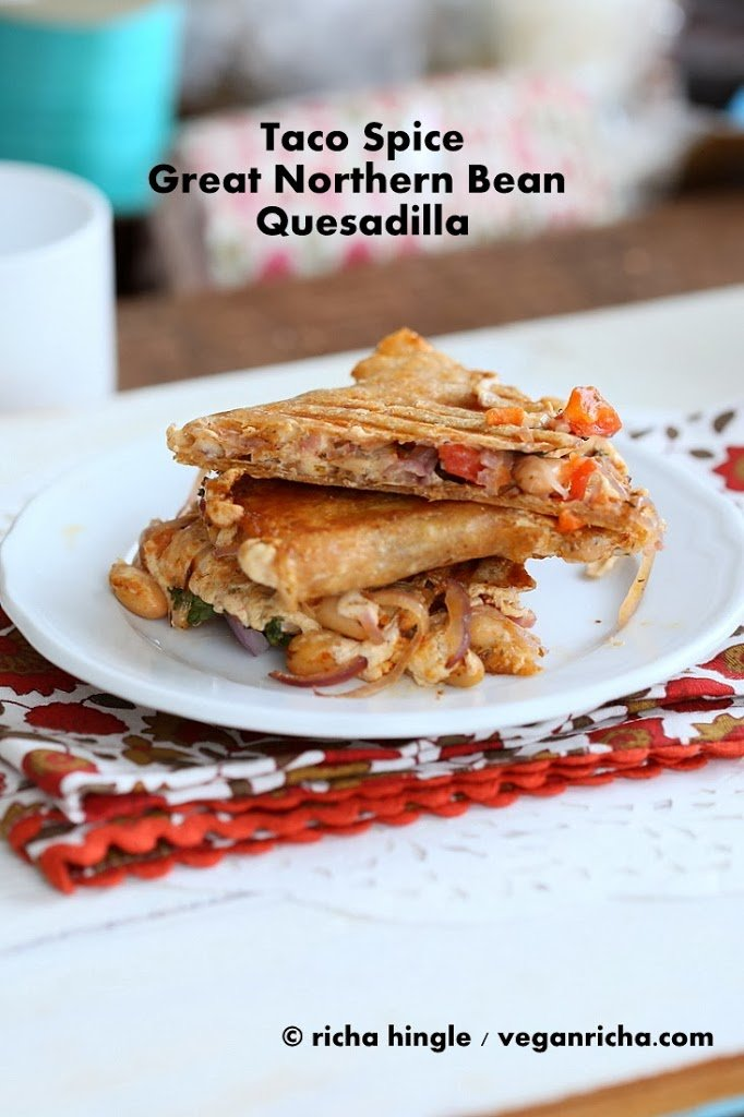 Taco Spice Vegan White Bean Quesadilla with Vegan pepper jack cheese | Vegan Richa