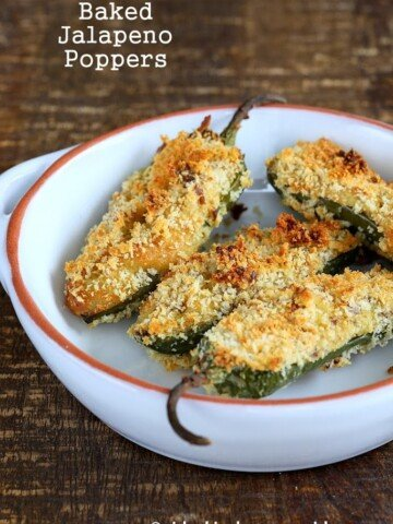 These Baked Vegan Jalapeno poppers are filled with my cheesy Jalapeno popper dip. Rolled up in breadcrumbs and baked to perfection. #glutenfree #veganricha #vegan
