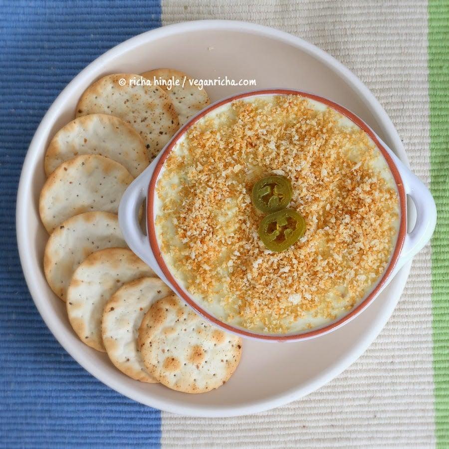 Vegan Jalapeno Popper Dip and Havarti Dip - glutenfree. Creamy cheesy Jalapeno dip. VeganRicha.com