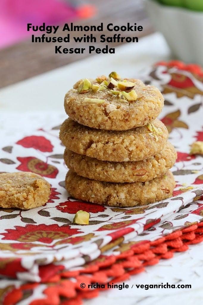 Vegan Kesar Peda - Saffron Infused Mithai Sweet Almond cookie