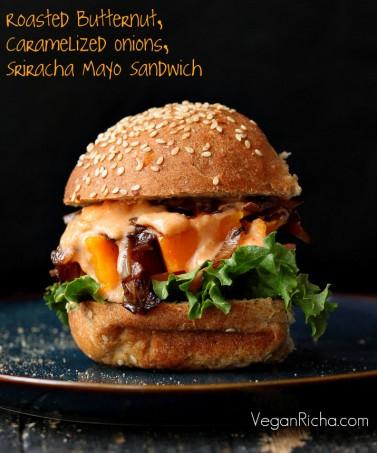 Roasted Butternut Squash Slider with Balsamic Caramelized onions, Sriracha Mayo. Vegan Sandwich Recipe