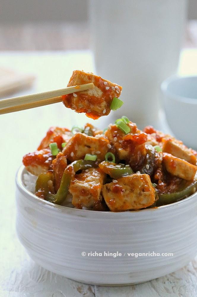 Vegan Orange Tofu and Peppers | Vegan Richa
