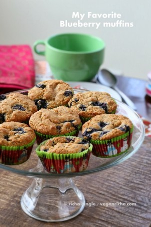 These Blueberry Muffins are al Whole grain and filled with blueberries. Vegan #vegan #glutenfree #veganricha