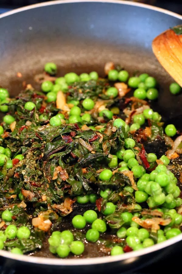 Rainbow Chard and Peas in Creamy gravy. Chard /Methi Matar Malai Vegan. Dairy-free creamy greens & peas w/ indian spices, somewhat like spinach dip. Gluten-free Soy-free Recipe